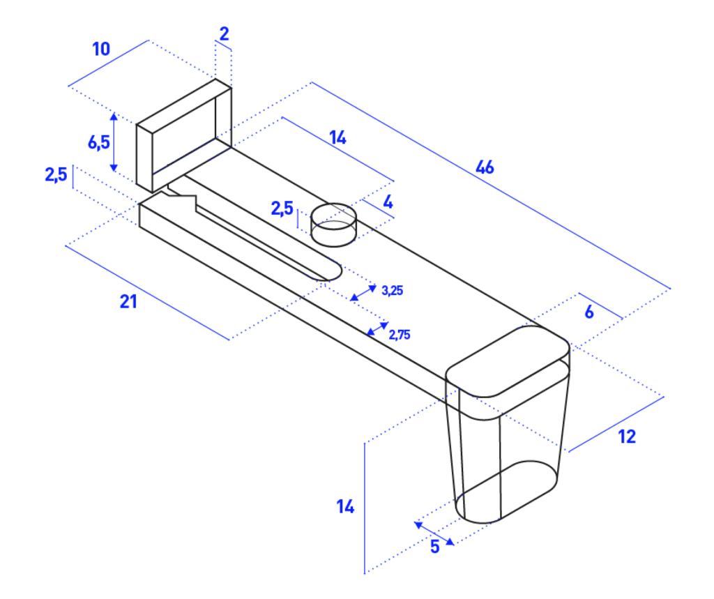 disegno del tasto con le misure
